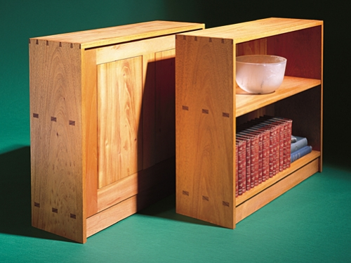 Bookcase back and front in Mahogany with multiple mortise and tenons, and dovetails. 29H x 33W x 11D