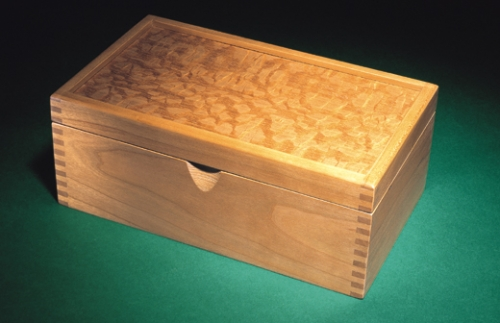 Business Card Holder in cherry with exotic veneered top and 532 finger joints. 3 1/2H x 8 1/2W x 5D