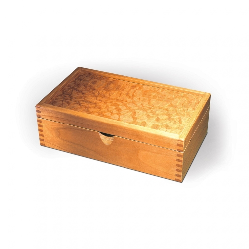 "Business card holder in cherry with exotic veneered top and 532"" finger joints. 3 12""H x 8 12""W x 5""D"