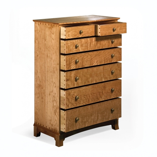 Chest of Drawers in cherry with through, half-blind, regular and rabbeted sliding dovetails. 47H x 34W x 18D