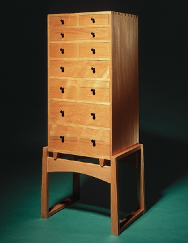 Chest of Drawers on Stand in Honduran mahogany, cherry drawer sides and back, and African blackwood handles, with through, half-blind and sliding dovetails. 52H x 18W x 15D