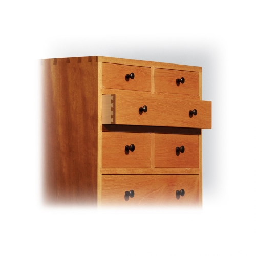 Chest of drawers on stand. Drawers Honduran mahogany on front, cherry on sides and back, African blackwood handles with single pass half-blind dovetails. Chest size 52H x 18W x 15D