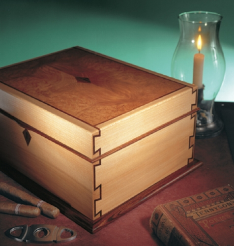Cigar Humidor in english sycamore, madrone burl, cocobolo accents and spanish cedar lining, with inlaid half-blind dovetails. 6H x 14W x 11D