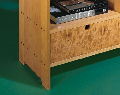 Closeup of Storage Unit in maple featuring multiple mortise and tenons. 35 1/2H x 40W x 16D
