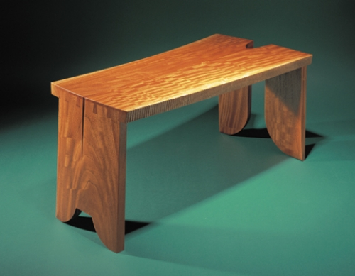 Coffee Table or Bench in figured bubinga with jumbo half-blind dovetails in 1 1/2 thickness of board. 17H x 40W x 19D