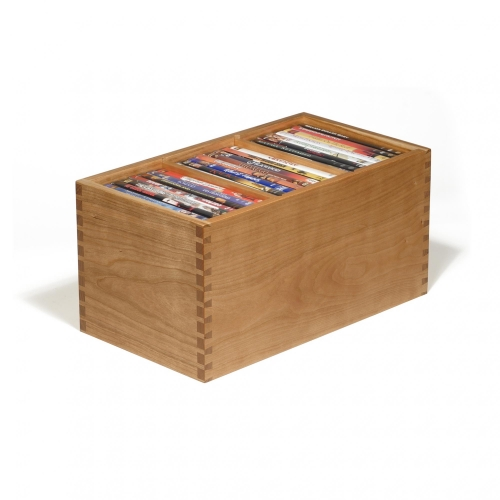 DVD Video Storage Box in cherry with half pitch through dovetails 8-1/16 H x 9 W x 16D
