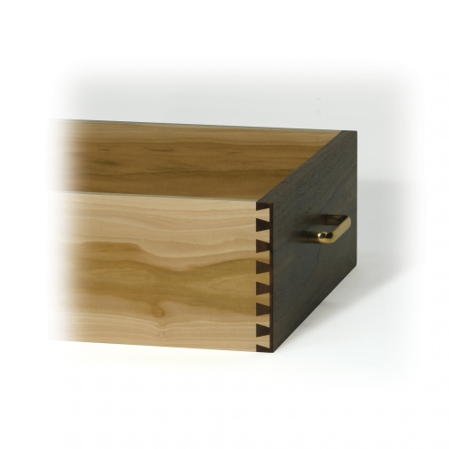 Drawer with half-blind dovetails, 12 depth of cut, in walnut and poplar. 15W x 5-916H x 20D