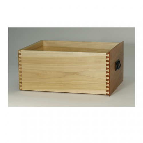 Drawer with half-blind dovetails in mahogany and poplar. 15W x 8-1116H x 19-78D