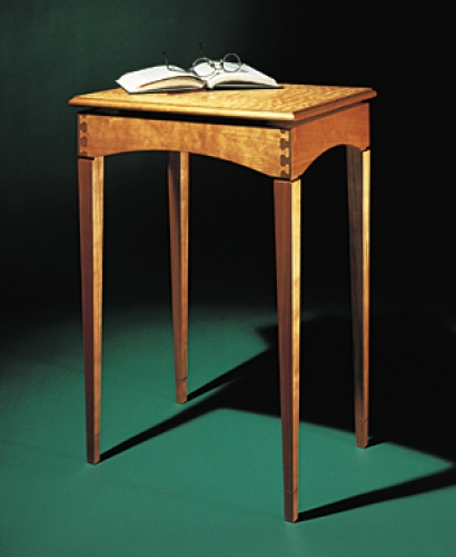 End Table in cherry with walnut inlaid Isoloc Key joinery and quilted maple top. 26H x 18W x 14D