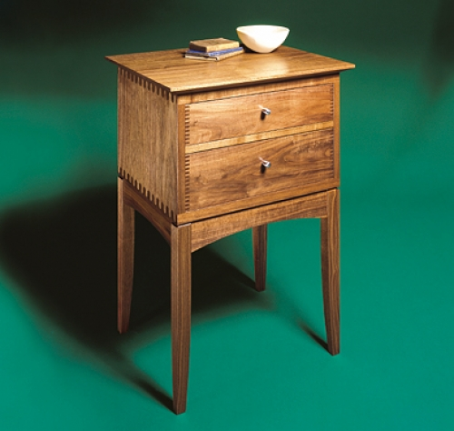 End Table in walnut with square and rounded finger joints. 26H x 18W x 16D