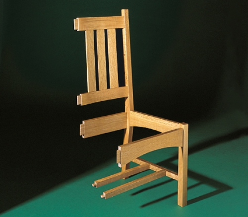 Exploded view of Arts and Crafts Style Chair in white oak. 41 1/2H x 20W x 20D