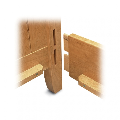 Exploded view of double in line mortise & tenon joint on bed frame