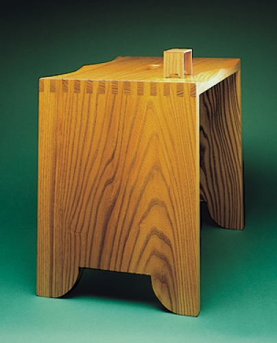 Large Stool in elm with 12 square finger joints. 16H x 19W x 12 12D One-eighth scale Miniature Stool with 116 square finger joints. 2H x 2 3/8W x 1 5/8D
