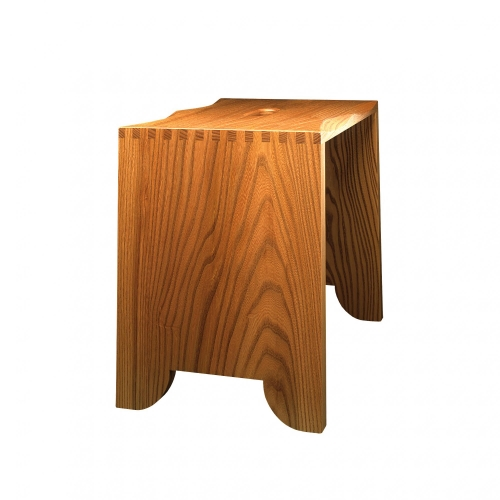 Large Stool in elm with 12 square finger joints. 16H x 19W x 12 12D