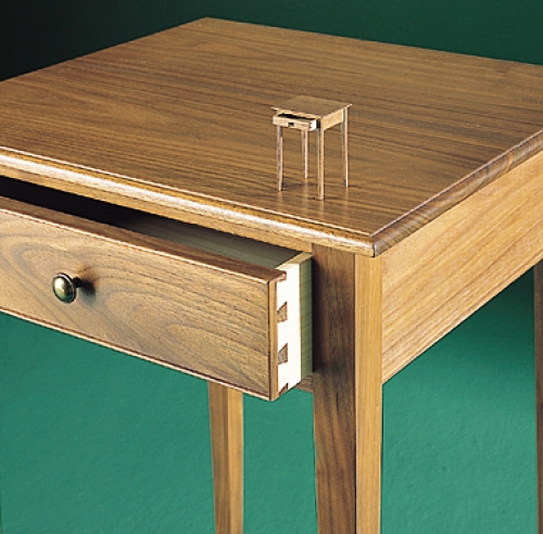 Night Table and twelfth-scale miniature replica in walnut and poplar. 27H x 18W x 17D.