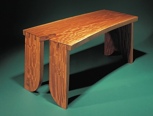 Opposite end of Coffee Table or Bench in figured bubinga with jumbo half-blind dovetails in 1 1/2 thickness of board. 17H x 40W x 19D
