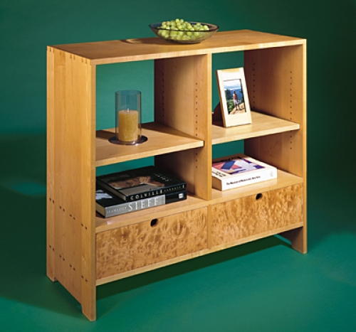 Storage Unit with shelf holes in maple with through dovetails. 35 12H x 40W x 16D
