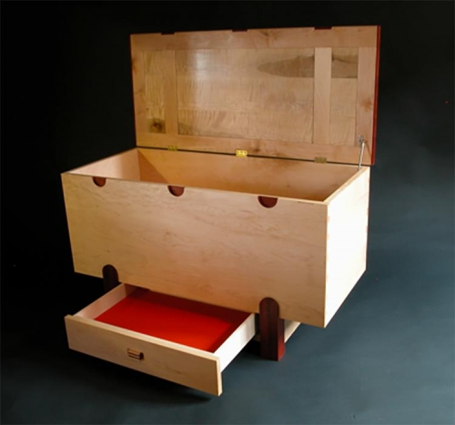 Toy Box in North American and Fiddle Back Maple and Paduak. Half Blind Dovetails. Malcolm Harwood.
