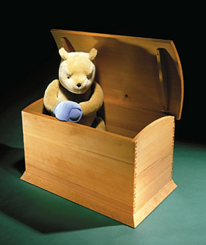 Toy Chest in Douglas fir with the Isoloc Bears Ears pattern joint. 17 1/2H x 29 1/2W x 17D
