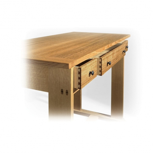 Arts & Crafts style writing desk in white oak, drawer sides in poplar with single pass half-blind dovetails. 29H x 40W x 21D
