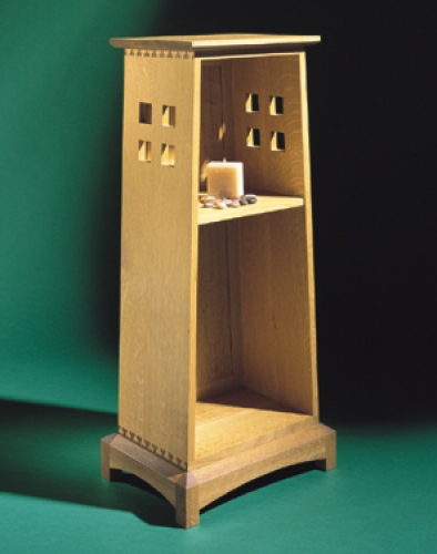 Arts and Crafts Style PlanterBookcase Stand in oak with Isoloc Clover pattern joint. 39H x 17 1/2W x 12D