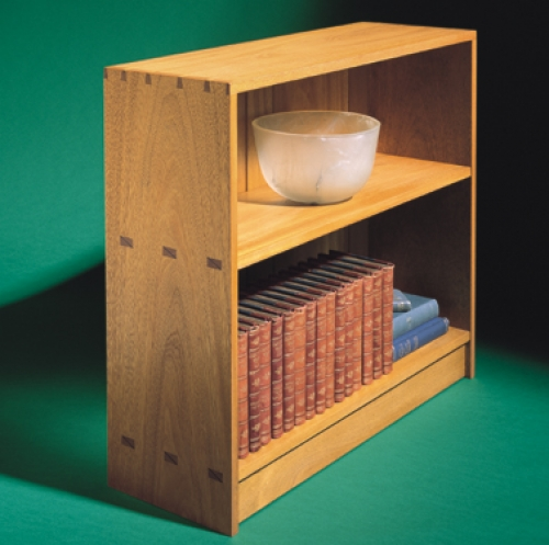Bookcase in Mahogany with multiple mortise and tenons, and dovetails. 29H x 33W x 11D