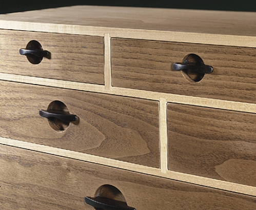 Closeup of Drawer Case from Cabinetmaker's Chest. Carcase and partitions in maple with sliding dovetails. 9H x 31W x 8D
