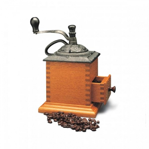 "Coffee Grinder in lacewood with square finger joints and rounded half-blind finger joints on drawer. 10 14""H x 6 12""W x 6 12""D"