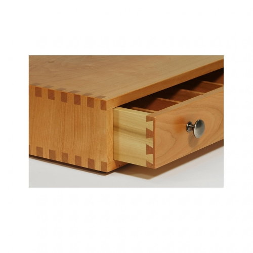 Coffee box drawer with half-blind dovetails in cherry, sides in poplar. 3-1/2H x 14W x 12-116D