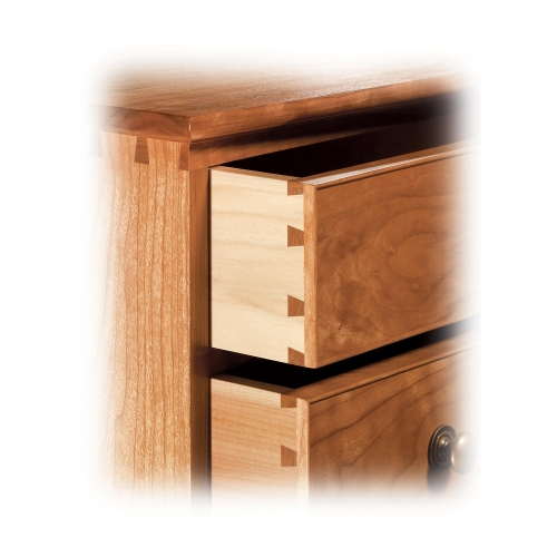 Corner of Chest of Drawers in cherry with through, half-blind, regular and rabbeted sliding dovetails. 47H x 34W x 18D