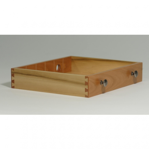 Drawer for coffee storage box with half-blind dovetails, 38 depth of cut. In cherry and poplar.