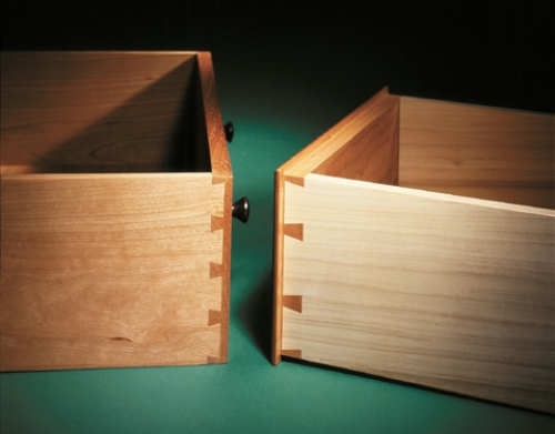 Drawers with flush and rabbeted half-blind dovetails. Left drawer mahogany front and cherry side. Right drawer cherry front and poplar side.