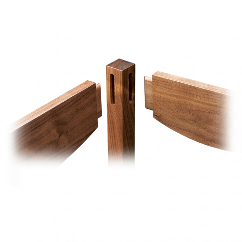 Exploded view of hall table with in line and twin double joints.