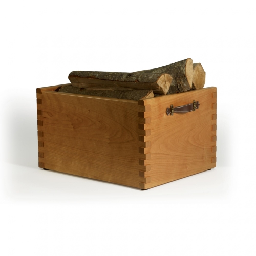 Firewood box with 34 raised box joints in cherry. 20W x 16D x 11-34H
