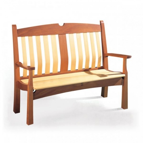 Garden bench features through twin mortise & tenon joints. Mahogany, yellow cedar and ebony. 42H x 53W x 24D