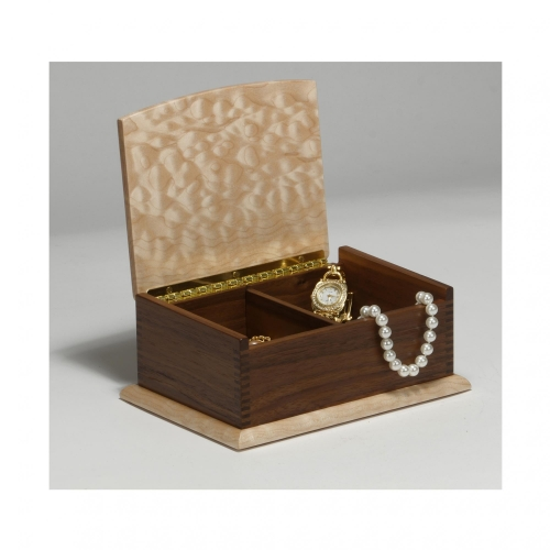 Jewelry box (open) with 332 box joints, in walnut and curly maple. 7W x 2-916H x 4D