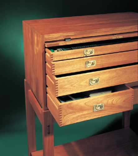 Leigh Tool Storage Cabinet in honduras mahogany with square finger joints. 51H x 38W x 20D