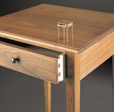 Night Table and Mini- drawer open Walnut 11 grey bkgd