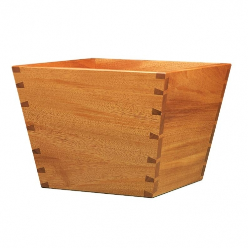 Planter box in mahogany with compound (hopper) angled dovetails 12H x 23W x 14D