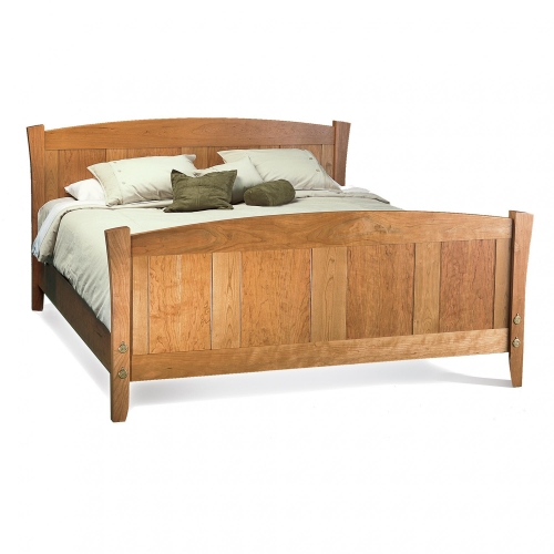 Shaker-inspired bed with single and in line double mortise & tenon joints. Cherry. 48H headboard, 36H footboard x 82W x 87D