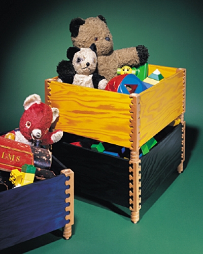 Stacking Toy Boxes in plywood and cherry with Ellipse, Bears Ears and Clover pattern joints. Each box 8 1/2H x 17W x 15D
