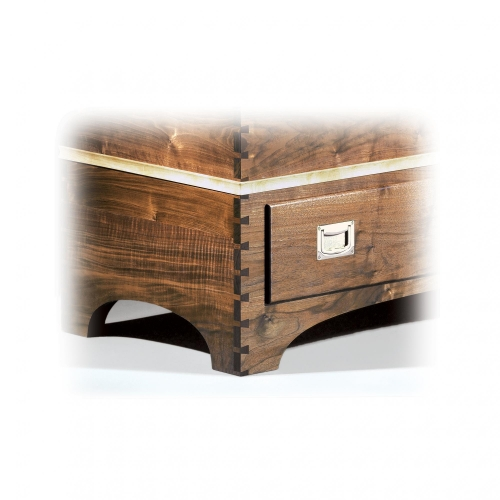 Two-piece Blanket Chest in walnut and maple, with fixed full pitch through dovetails (drawer in half-blind dovetails). 29H x 40W x 21D.