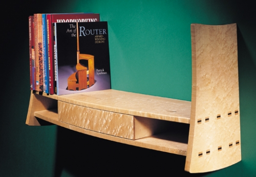 Wall-mounted Bookcase with Drawer in birdseye maple and maple with cocobolo wedges. Featuring square wedged mortise and tenons. 16H x 32 1/4W x 9 1/4D